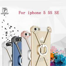Aluminum Metal X Style iPhone Case With Ring Holder stand For iphone 5 5S SE
