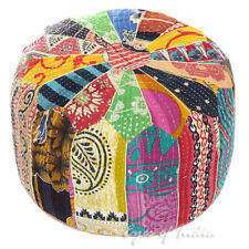 "16 X 10"" Round Colorful Kantha Pouf Pouffe Ottoman Cover Floor Seating Boho Bohe"