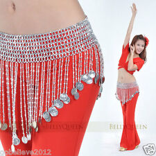New Belly Dance Costume Accessory Bead & Coin Hip Skirt Scarf Belt Wrap Handmade
