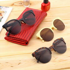 Fashion Unisex Retro Round Circle Frame Semi-Rimless Sunglasses NL