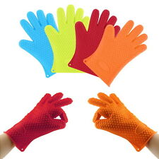 Heat Resistant Silicone Glove Oven Pot Holder Baking BBQ Cooking Mitts NL