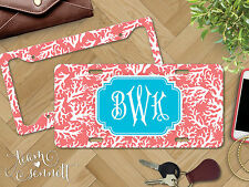 """""""Coral"""" Nautical Personalized Monogrammed Aluminum Vanity License Plate & Frame"""