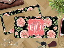 """""""Victorian Rose"""" Personalized Monogrammed Aluminum Vanity License Plate & Frame"""