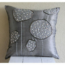 Silver Ball Bearings - Grey Art Silk Throw Cushion Covers 40x40 cm