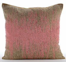 Beaded Ombre Pink Cushion Covers, Silk Cushion Covers 30x30 cm - Pink Phenomena
