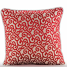 Red Scroll Pattern 55x55 cm Burnout Velvet Cushions Cover - Cayenne Red Scrolls