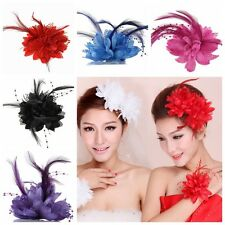 Feather Flower Bride Hair Clip Hairband Wedding Party Prom Corsage Brooch Pin