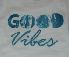 NWT Women's Life Is Good Good Vibes White Scoop Neck SS Creamy Tee