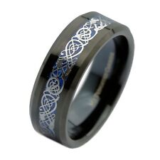 8MM Blue Celtic Dragon Black Plated Tungsten Carbide Ring Wedding Band