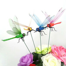 2PC Chic Home Dragonfly On Sticks Popular Art Garden Vase Lawn Craft Decoration