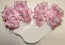Frilly Gingham Bow Socks Plaid Ruffle Infant Girls Toddler Costume Dance Pageant