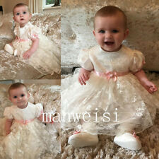 New Baby Girl Christening Dresses Lace Soft Baptism Short Sleeve Gowns Custom