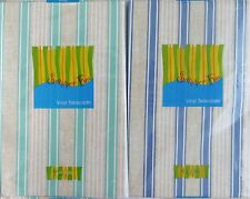 Summer Fun Sandy Stripes Vinyl Flannel Back Tablecloth -Various Sizes/Colors