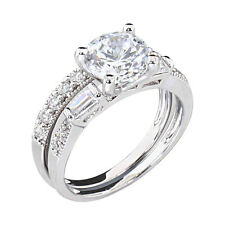 2 CT Round Cubic Zirconia Rhodium EP Bridal Engagement Wedding Ring Set