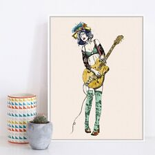 Vintage Retro Guitar Girl Pop Rock Roll Music Art Print Poster Hippie Wall Decor
