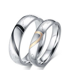 Love Heart Rings Promise Xmas Present Gift For Couple Women Her Him Wife Husband