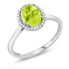 10K White Gold Diamond Ring 1.10 Ct Oval Yellow Lemon Quartz
