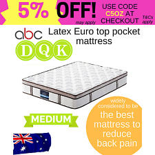 Latex Euro top pocket spring mattress back support medium firm-KING QUEEN DOUBLE