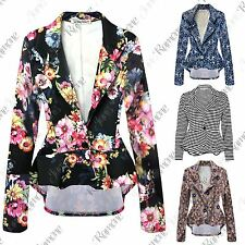 New Womens Floral Printed Long Sleeve Frill One Button Peplum Blazer Jacket Top