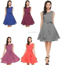 Women Summer Sleeveless Solid Belted Cocktail Party Pleated Dress CYBD01