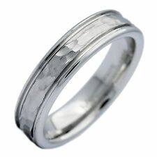 5mm White Tungsten Carbide Hammered Center Polished Edge Wedding Band Ring