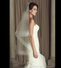 White or Ivory Bridal Veil Two Layer Fingertip Length Wedding Veil with Comb