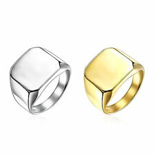 Unisex Silver/Gold Big Square 316L Stainless Steel Ring Wide Band Size 7-10