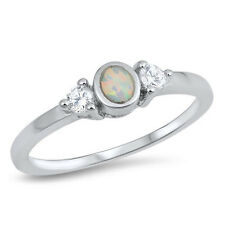 925 Sterling Silver Bezel White Created Opal Trilogy Ring w/ Cubic Zirconia CZ