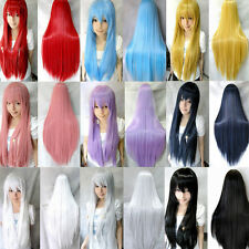 Women 80cm Long Hair Straight Full Wigs Bangs Anime Cosplay Costume Party Prom