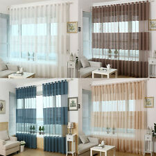 Elegant Sheer Curtain Window Curtains Stipe eyelet Voile Drape Panel Scarf New