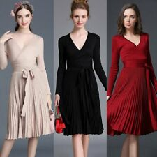 Women Deep V Pleated Dress Long Sleeve Slim Party Club Knitted Dress Mid-Dress