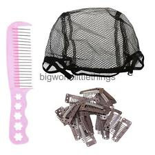 New Wig Net Fishnet Snood Cap Hairnets 10 Teeth Wig Clips Small Steel Comb Tooth