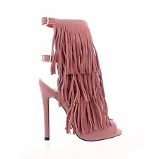 Cut Out Open Toe Stiletto High Heel Peep Toe Ankle Booties - Tiny - Blush