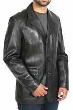 Mens Black Blazer Leather Jacket Classic Casual Fitted Soft Leather Coat Jim NEW