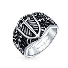 Stainless Steel Celtic Medieval Cross and Shield Mens Ring