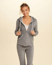 Abercrombie & Fitch – Hollister Womens Velour Hoodie Track Jacket S Grey NWT