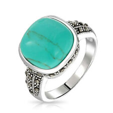 Bling Jewelry Vintage Style Marcasite Reconstituted Turquoise Ring 925 Silver