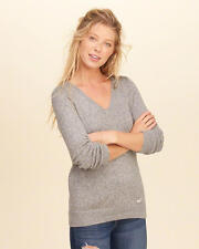 Abercrombie & Fitch – Hollister Womens V Neck Icon Sweater S Grey NWT
