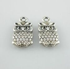 40/320pcs Antique Silver 7*15mm Owl Charms Pendants Beads Jewelry Findings