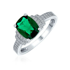 Bling Jewelry .925 Silver Cushion Cut Simulated Emerald CZ Engagement Ring