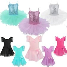 Girls Kids Ballet Dance Party Dress Leotard Tutu Skirt Gymnastics Dress Costume