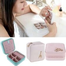 Crystal PU Leather Travel Zip Jewellery Necklace Earrings Box Storage Organizer