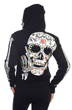 Candy Skull Skeleton zip up face Hoodie Banned Living Dead Souls goth punk rock