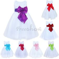 Flower Girl Dress Princess Bow Tie Belt Wedding Birthday Party Formal 2-8T Gift
