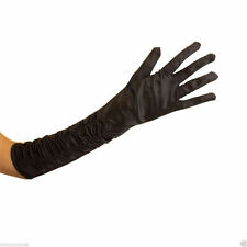 Satin Ruched Elbow Long Evening Gloves  Prom Party Gloves Black
