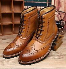 Mens Dress Pointed Toe Lace Up oxford Brogue leather ankle boots casual Shoes Sz