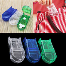 Portable Travel Medicine Pill Compartment Box Case Storage with Cutter Blade OJA