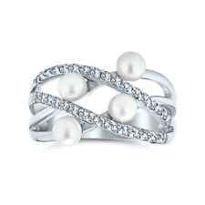 Bling Jewelry CZ Simulated Pearl Criss Cross Cocktail Ring Rhodium Plated