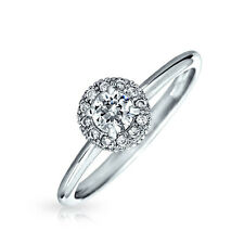 Bling Jewelry CZ Solitaire Halo Pave Promise Ring Rhodium Plated Silver