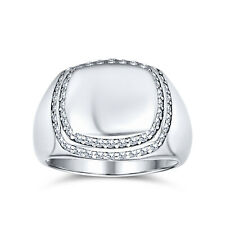 Bling Jewelry Mens 925 Sterling Silver Micropave Cubic Zirconia Signet Ring